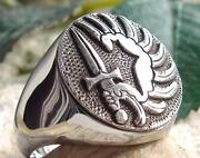 Foreign Legion Parachute French Army Ring Sterling Silver 925 Massive Heavy D98