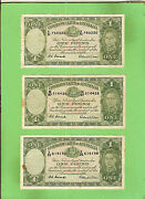 D299. 3 Coombs / Wilson 1952 Type One Pound Banknotes