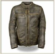 Menand039s Brown Distressed Scooter Jacket W/ Venting-all Sizes Available-