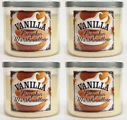 4 Bath And Body Works Vanilla Pumpkin Marshmallow 3-wick Large Candle 14.5 Oz