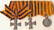 Antique Imperial Russian Order St George Silver Crosses And 1 Medal 1195