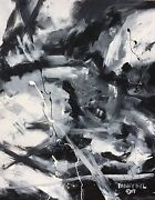 Large Original Modern Black White Fine Art Abstract Painting Danny Byl Huge 4x5and039