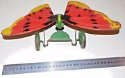 Antique/ Vintage Tin Butterfly Mechanical Push Toy Litho