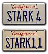 Iron Man 1 And 2 | Stark 4 + Stark 11 | Metal Stamped Prop License Plate Combo