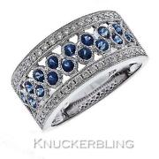Diamond And Blue Sapphire Half Eternity Wedding Ring 1.20ct F Vs And 18ct White Gold