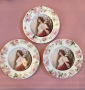 Portrait Collector Plate Woman Lady Semi Nude Rose Roses Prussia Wagner Design