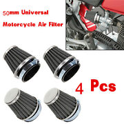 4 X 50mm Universal Tapered Chrome Pod Air Filters Clean Mushroom Head Cleaner