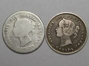 2 Victoria Silver Canadian 5 Cent Coins 1880-h And 1899. 6