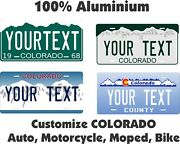 Colorado Tag Custom Personalized Car Motorcycle Moped Bike Bicycle License Plate