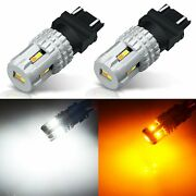 Jdm Astar 2x 1600lm 3157 Dual Color 3020 12smd White Amber Switchback Led Bulbs