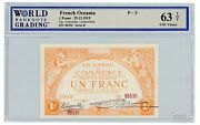 French Oceania ... P-3 ... 1 Franc ... 1919 ... Ch.unc Top 63.