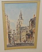 St Louis Cathedral From Charter St New Orleans Vintage Watercolor Painting 1977
