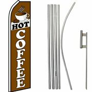 Hot Coffee Brown Swooper Super Flag And 16ft Flagpole Kit / Ground Spike