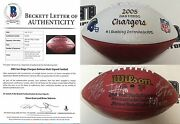 2005 Chargers 1 Defense Signed Hand Painted Football Bas Coa Shawne Merriman +
