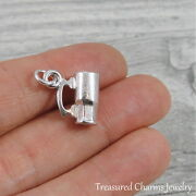Silver Beer Mug Charm - Beer Stein Bartender Alcohol Pendant Jewelry New