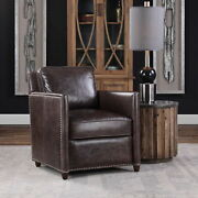 27 W Top Grain Brown Leather Club Chair Smoke Distressed French Design