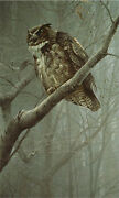 Robert Bateman Winter Mist - Great Horned Owl Sold Out Limited Edition