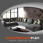 Modern Grey Fabric Sectional Sofa W Chaise And Pillows Contemporary Design Couch
