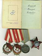 Soviet Medals Order Two Red Banner And Red Star With Document Kill 6 Nazi 1263