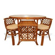 Dining Borneo Set Of Oval Table W/ Glass Top An 2 Chairs Handmade Rattan Cognac