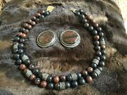 Marcasite Tortoise Shell Necklace And Earrings