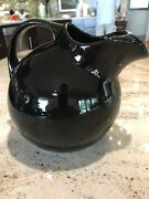Sultry High Gloss Black Kool Aid Style Hall Ball Pitcher With Ice Lip 7.5