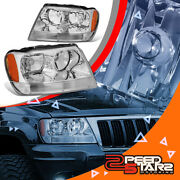 Fits 99-04 Grand Cherokee Limited/overland Suv Chrome Headlamps Amber Reflector