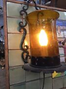 Spanish Wall Sconce With Iron Detail And Amber Globe