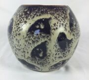 Handmade Studio Pottery Art Purple Earth Speckled Stoneware Pot by Miru 2003