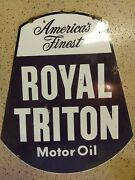 1950and039s Royal Triton Motor Oil Double-sided Porcelain Advertising 30 Sign