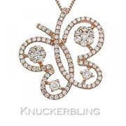 Diamond Butterfly Pendant Certified 0.60ct F Vs In 18ct Rose Gold With Chain