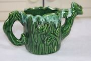 Vintage Watering Can Dripped Glazed Tree Trunk & Rose Art Pottery