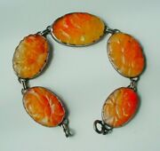 Antique Art Deco Chinese Carved Carnelian Bracelet Sterling Silver