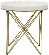 24 Set Of Two Side Table Night Stand Metal Quartz Stone Rustic Modern 8366