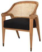 33 Set Of Two Accent Chair Solid Teak Wood Brown Frame Black Cotton Seat Modern