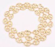 12mm Puffed Mariner Anchor Link Chain Necklace Real Solid 10k Yellow Gold