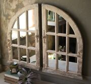 French Country Distressed Arched Wood Window Wall Mirrors Cottage Chic Set/2