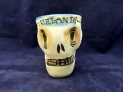 Miguel Corney Porcelain Studio Art Pottery Ceramics Skull Cup for Melanie