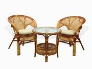 Pelangi Lounge Set Of Round Table And 2 Chairs Natural Rattan Wicker, Cognac