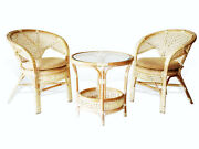 Pelangi Lounge Set Of Round Table And 2 Chairs Natural Rattan Wicker, Cream
