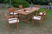 7 Pc Outdoor Dining Teak Set - 94 Rectangle Extension Table, 6 Stacking Chairs