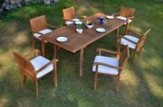 7 Pc Outdoor Dining Teak Set - 94 Rectangle Extn Table, 6 Stacking Arm Chairs