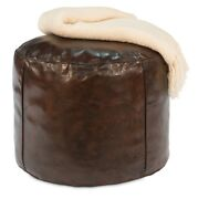 22 W Set Of 2 Teresio Stools Top Grain Leather Antique Brown Ball Chair