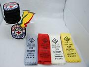 Lot Of Assorted Boy Scout Patches Ribbons Job Cards And Laker Player Bench Card