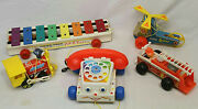 Vtg Lot Of 5 Fisher Price Toys Pull A Tune Toot Toot Train Chatter Telephone