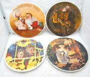 Lot Of 4 Vintage Norman Rockwell Christmas 8 Decorative Plates