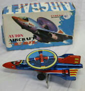 9 Vintage Avion Aircraft Tin Metal Wind Up Toy Plane Made In China