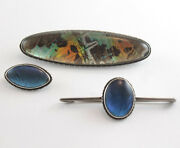 Lot Of 3 Vintage Sterling Silver Butterly Wing Brooch Art Deco Brooches