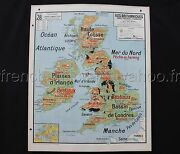 L727 Antique School Map British Isles Political Physical Industrial 4739