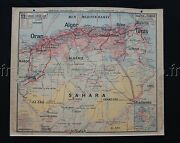 P432 French Antique School Map North Africa Tunisia Political Physical 4739